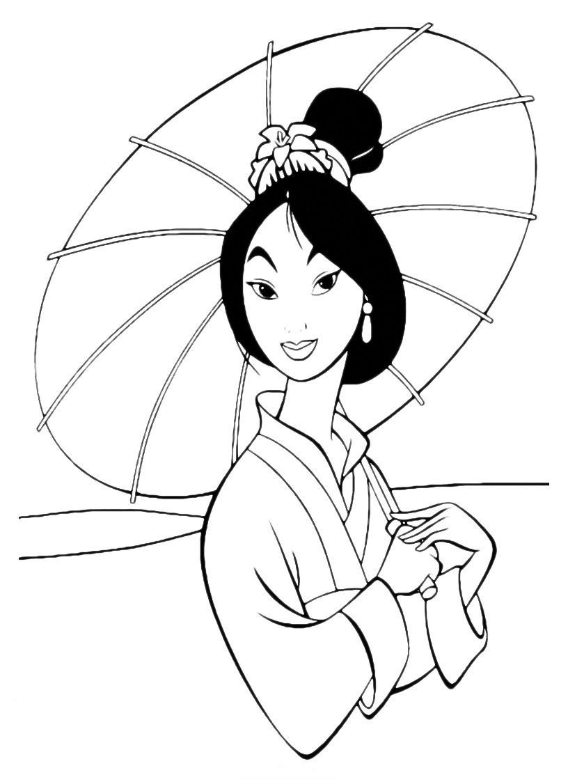 Mulan free to color for kids - Mulan Kids Coloring Pages