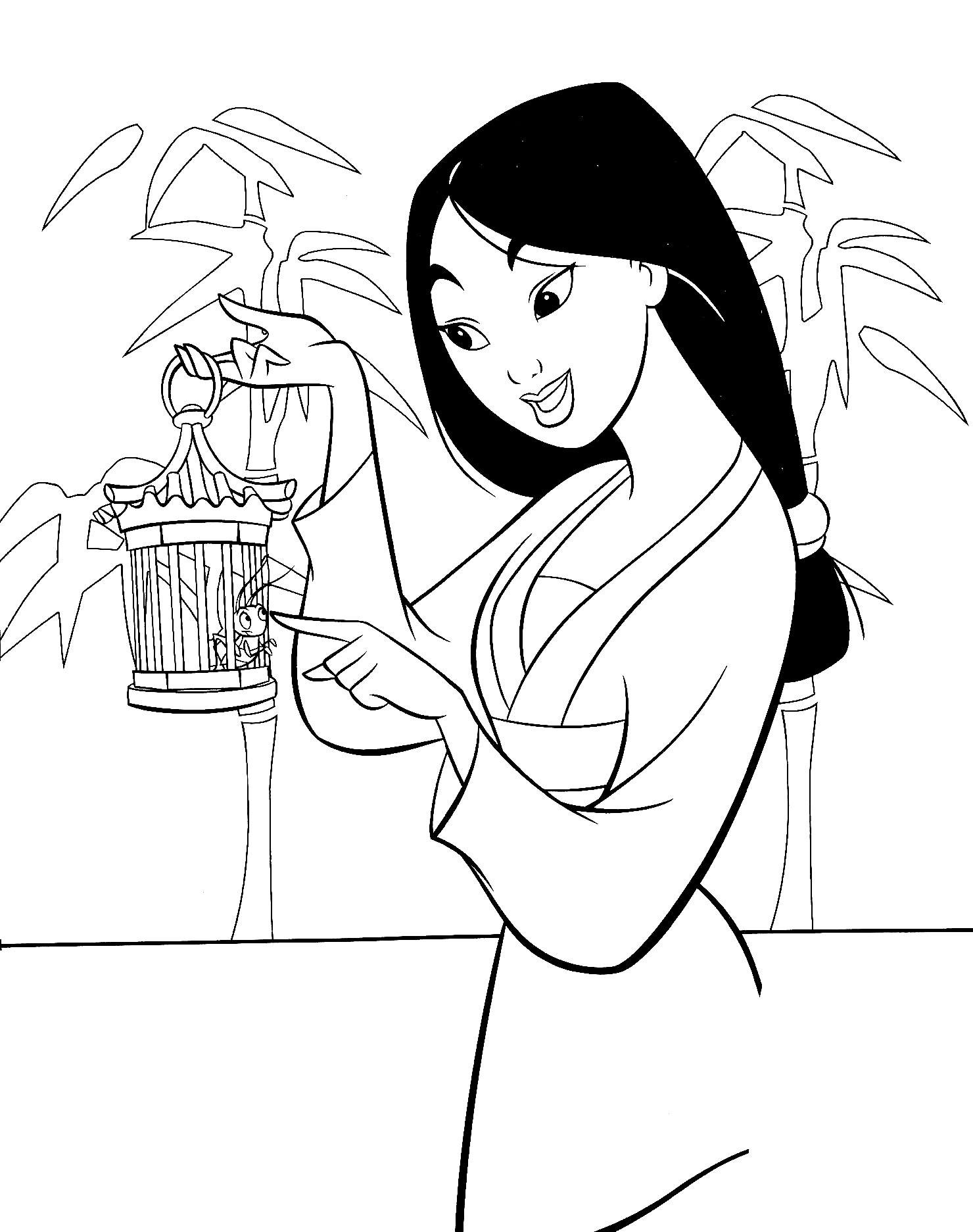 Printable Mulan coloring page to print and color