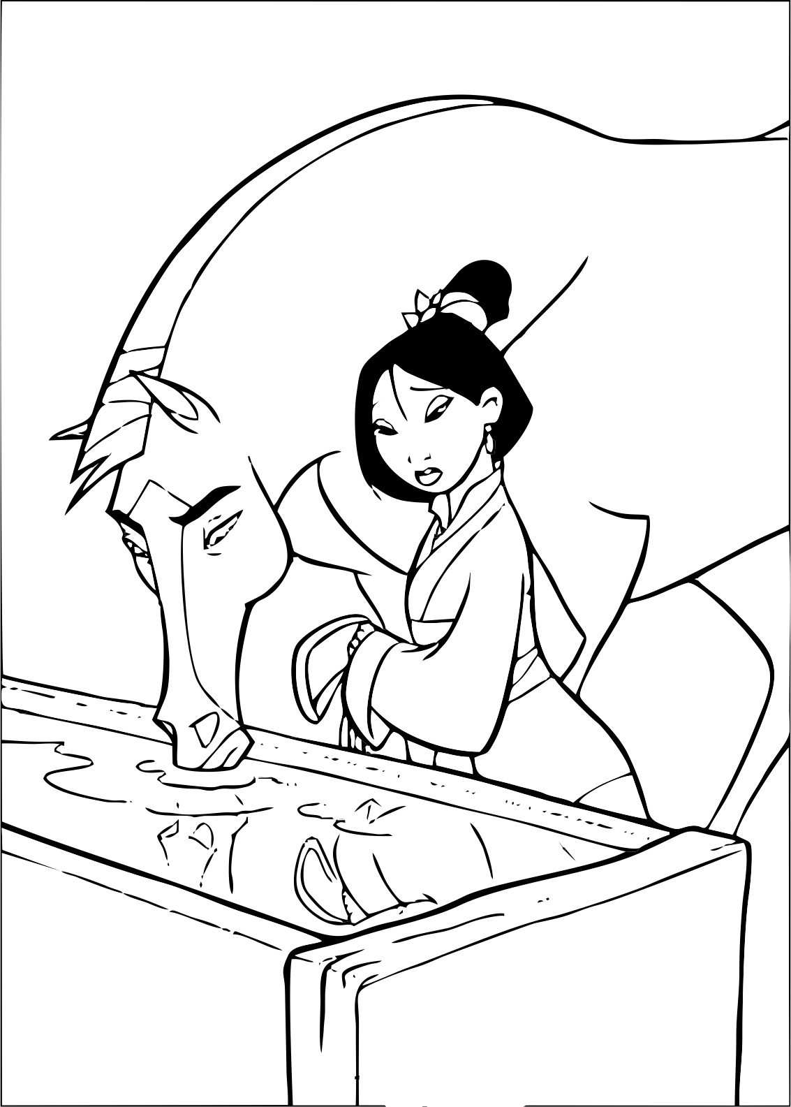 Mulan coloring page to print and color for free