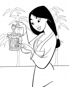Coloring page mulan to color for kids