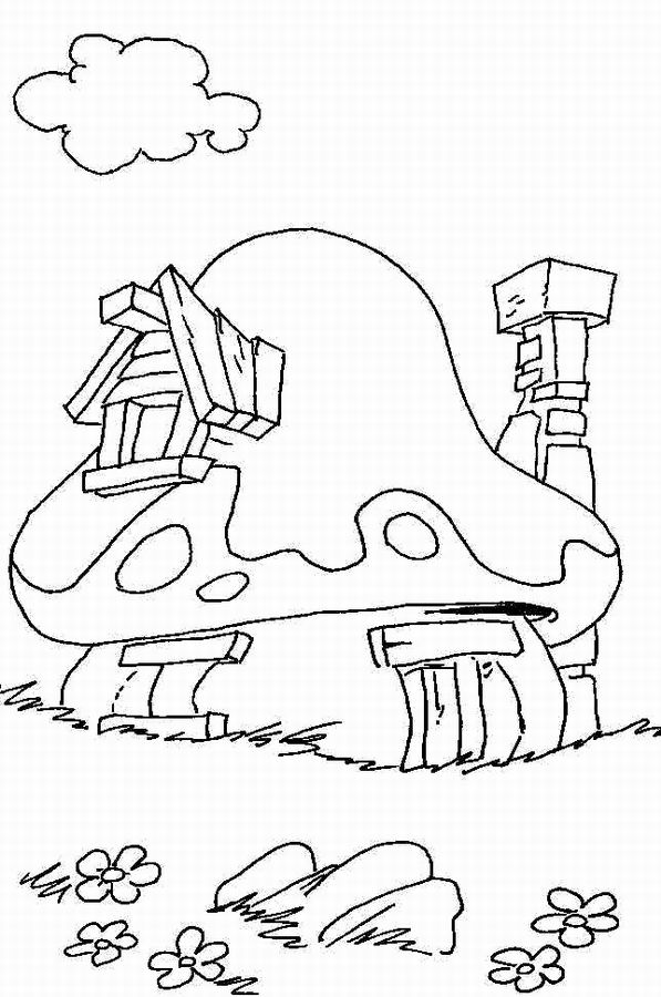 Funny Mushrooms coloring page for children