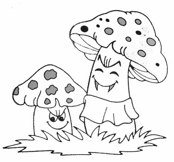 Simple Mushrooms coloring page