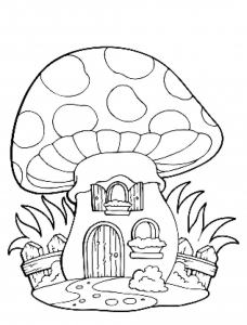 Coloring page mushrooms to color for children