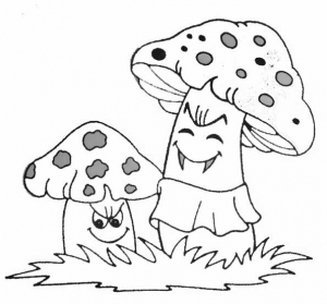 Coloring page mushrooms for children