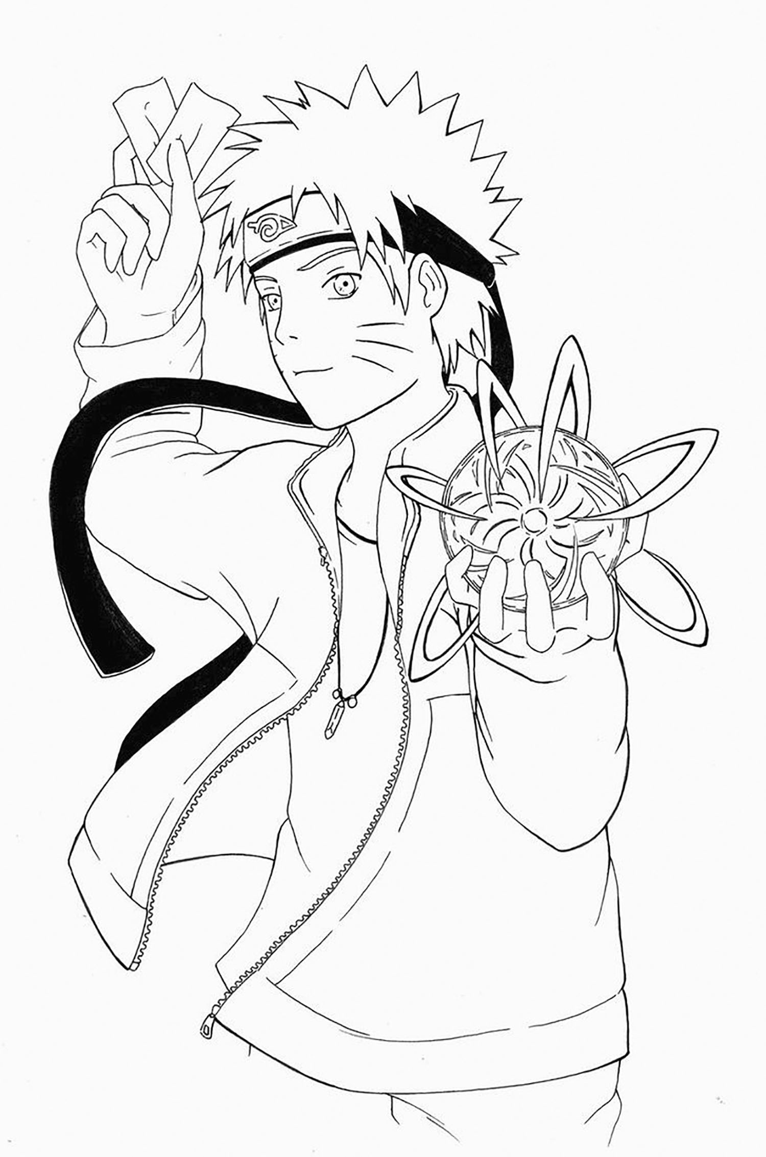 Free Naruto coloring page to download, for children