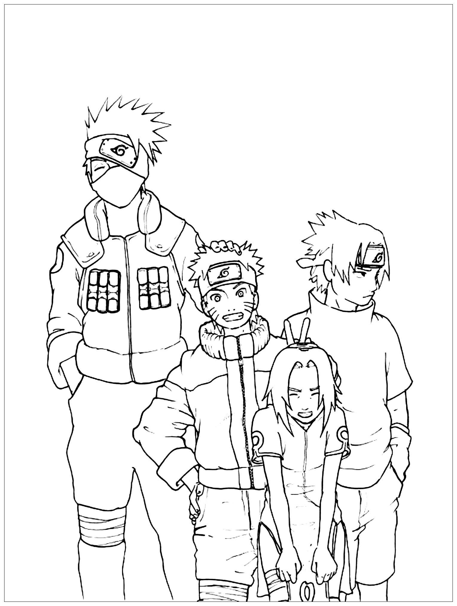 Funny free Naruto coloring page to print and color