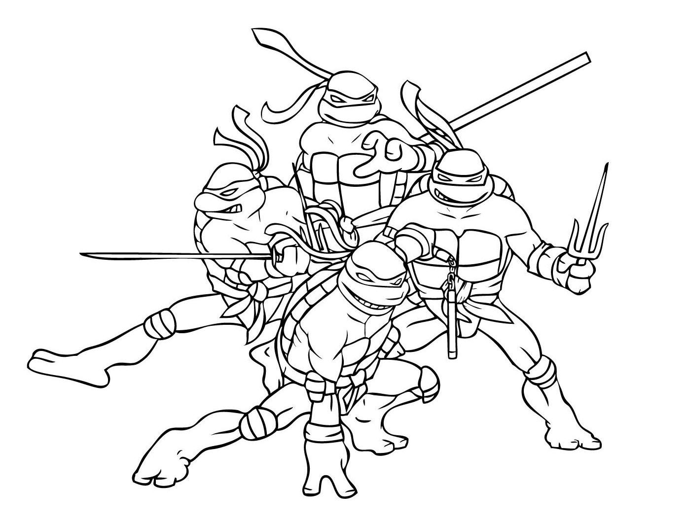 Free Ninja Turtles coloring page to download