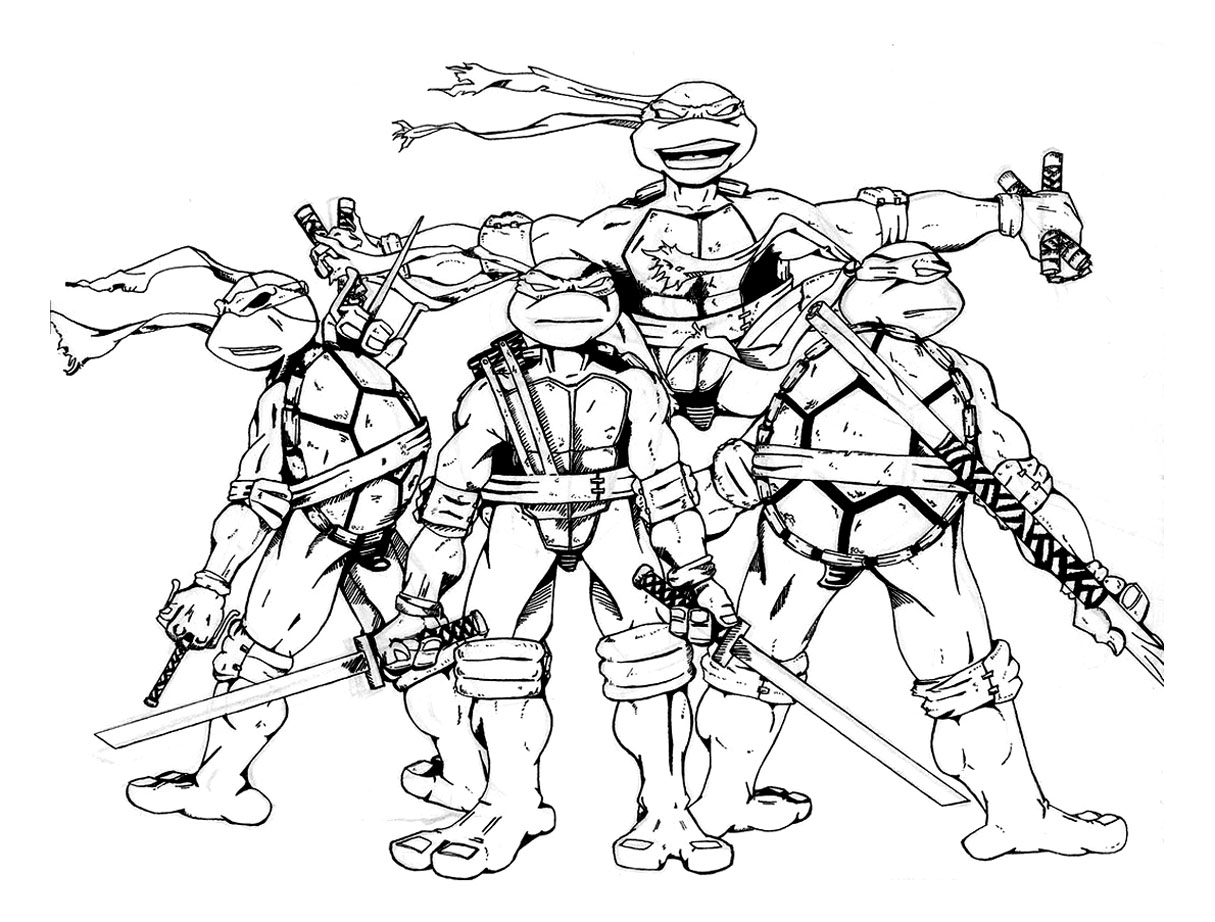 It is an image of Free Printable Ninja Turtle Coloring Pages intended for thirteen