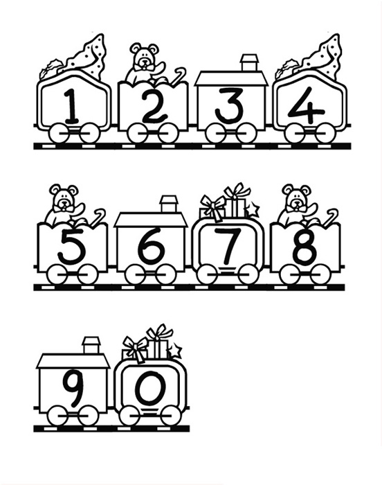 Simple Numbers coloring page for children : From 1 to 0