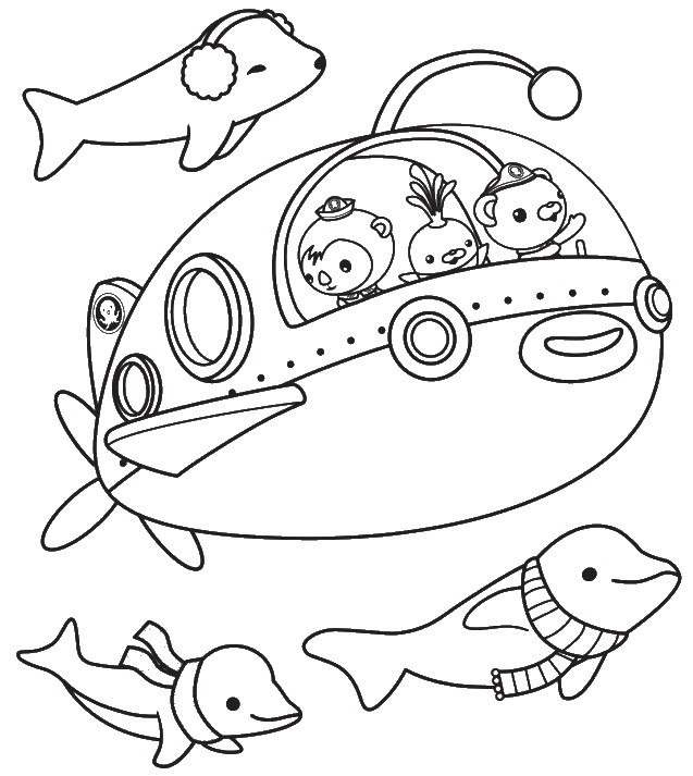 Simple Octonauts coloring page for kids