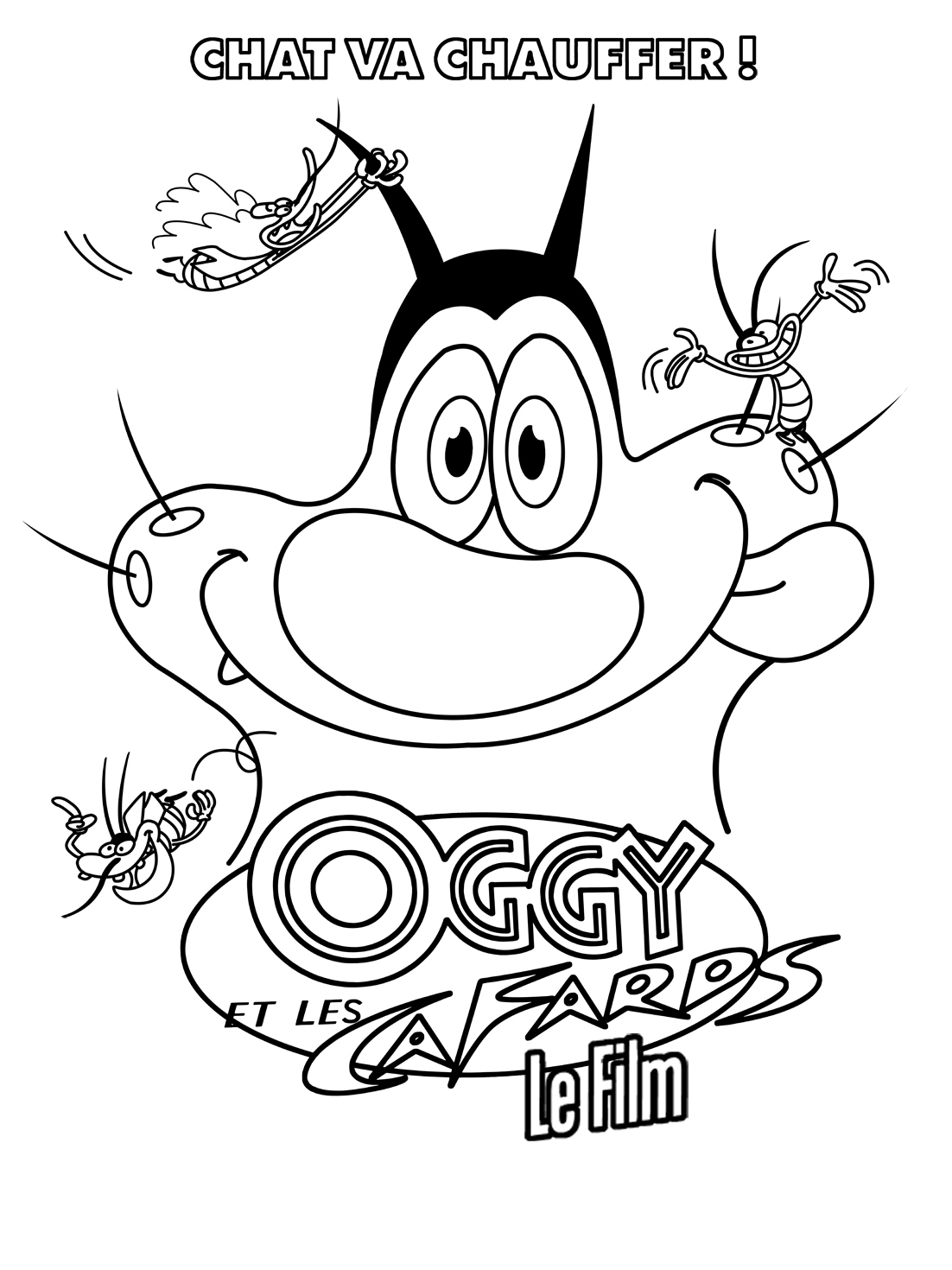 Oggy and the cockroaches free to color for children - Oggy And The ...