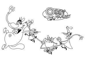 Coloring page oggy and the cockroaches to print