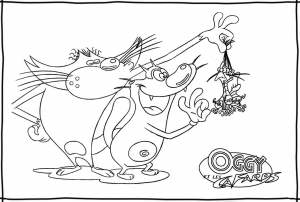 Coloring page oggy and the cockroaches to download for free