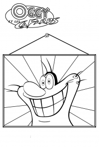 Coloring page oggy and the cockroaches to color for children