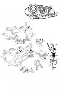 Coloring page oggy and the cockroaches for children