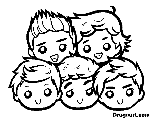 Simple One Direction Coloring Page For Children