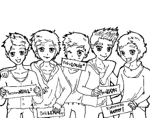 Coloring page one direction to color for kids
