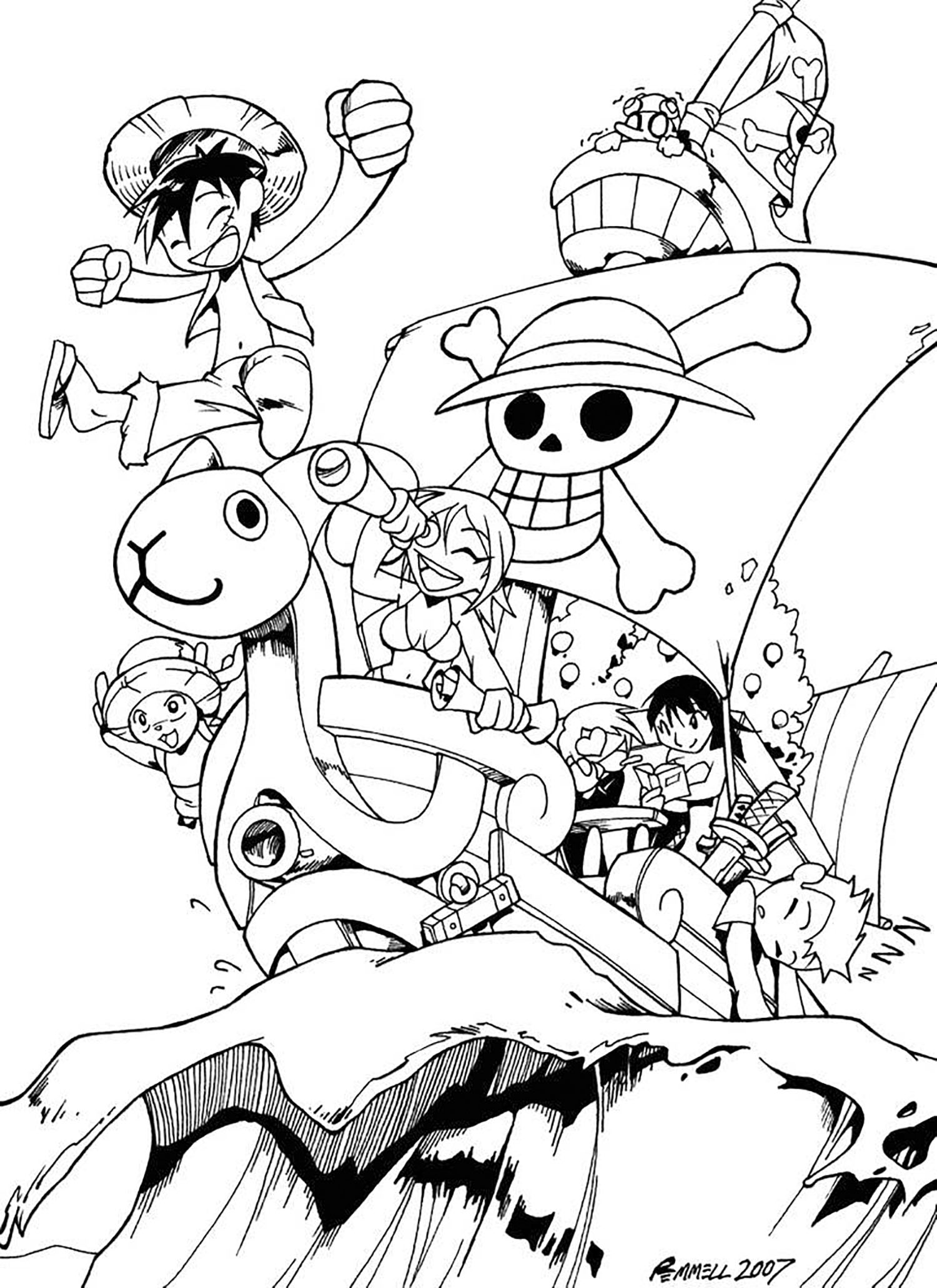 One piece free to color for kids - One Piece Kids Coloring ...
