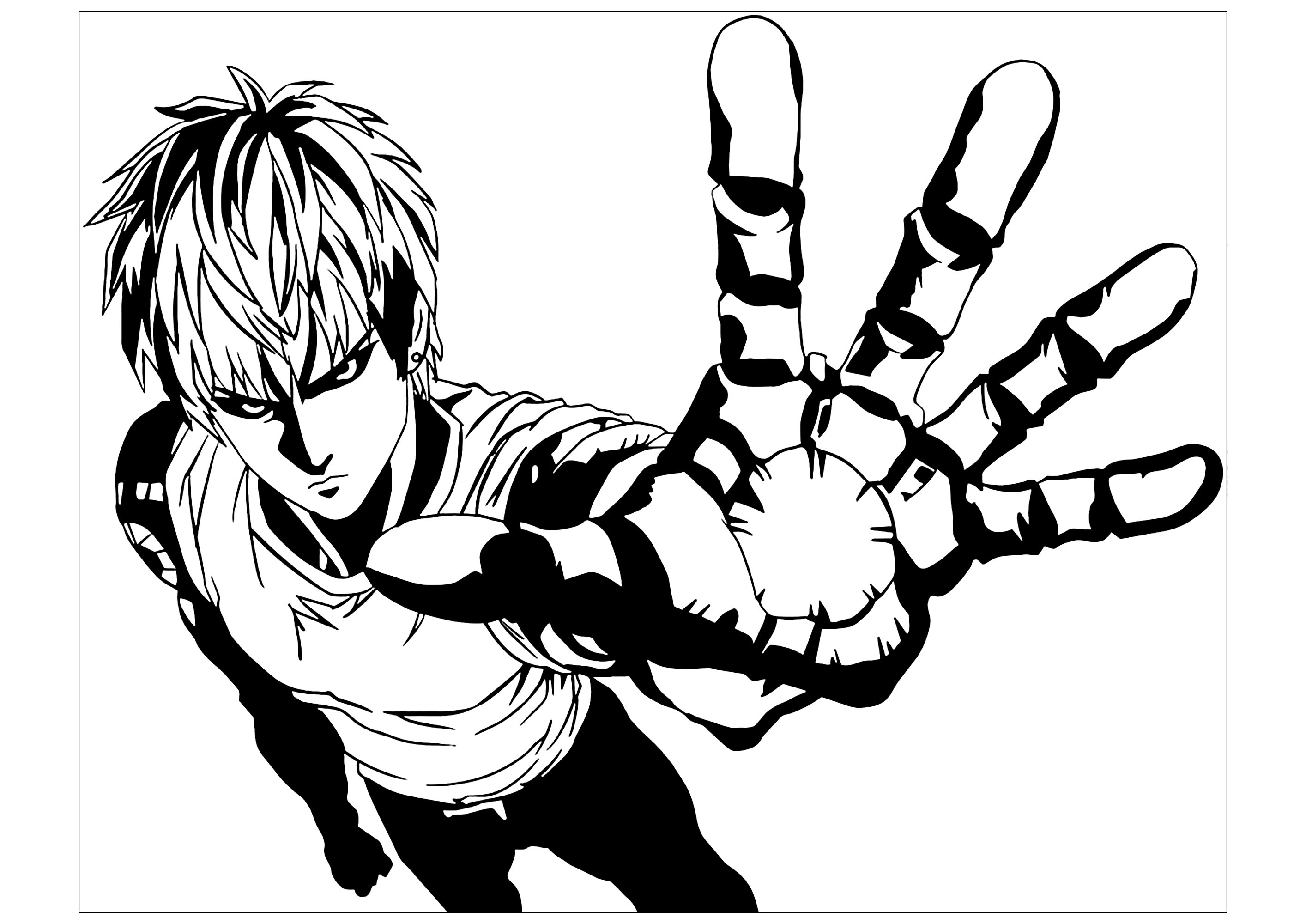 Free One Punch Man coloring page to download, for children