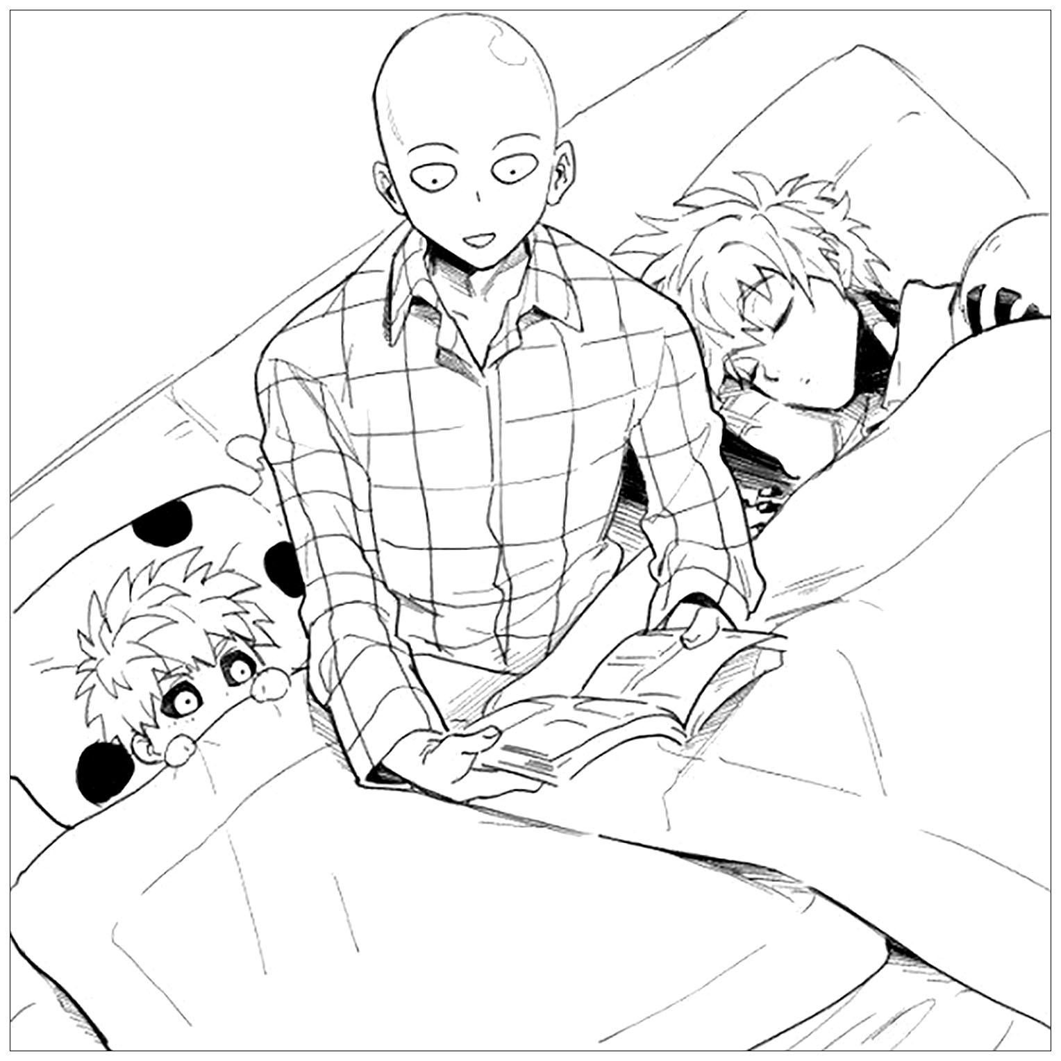Simple One Punch Man coloring page to print and color for free