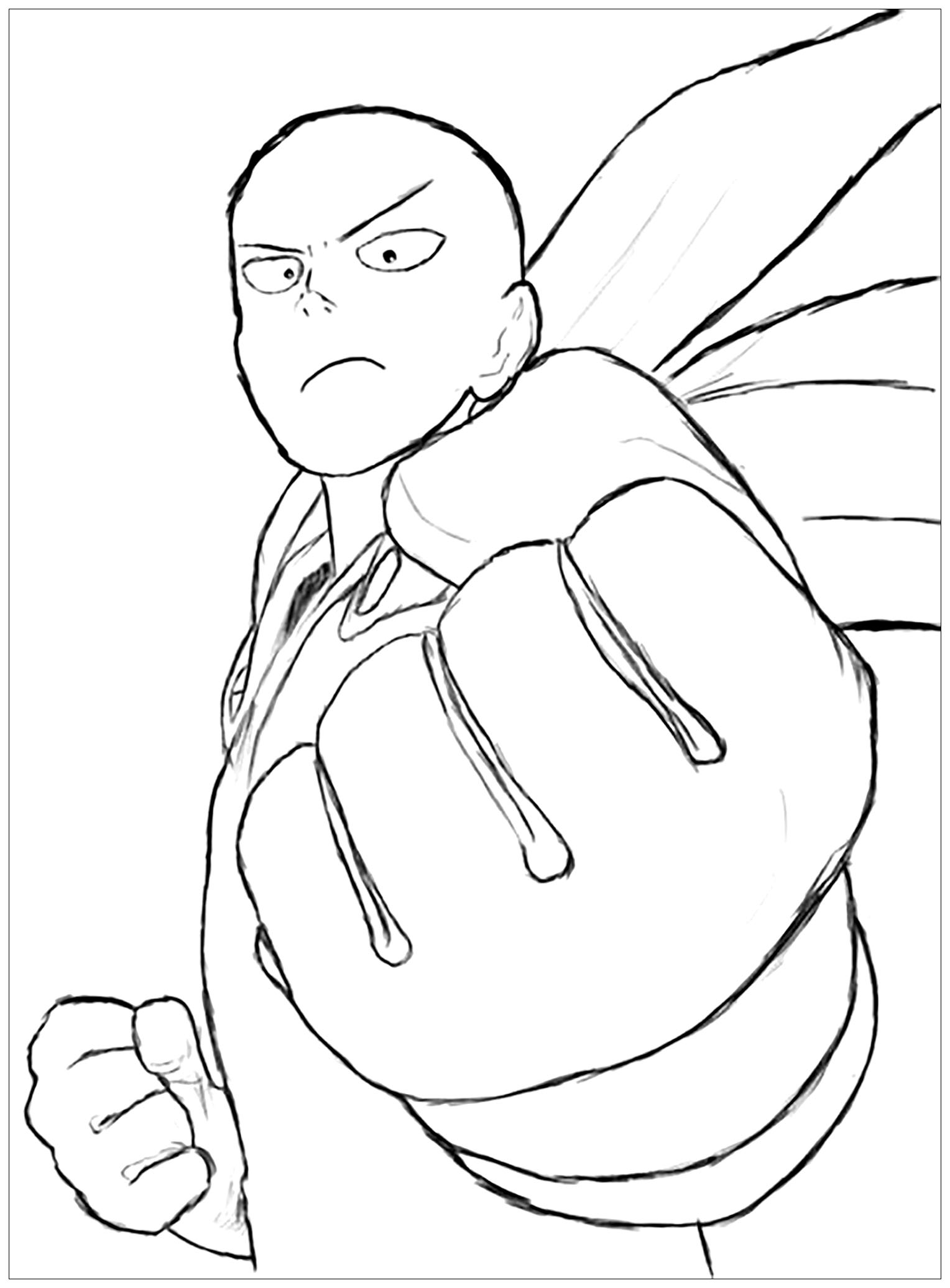 One Punch Man Free To Color For Children One Punch Man Kids
