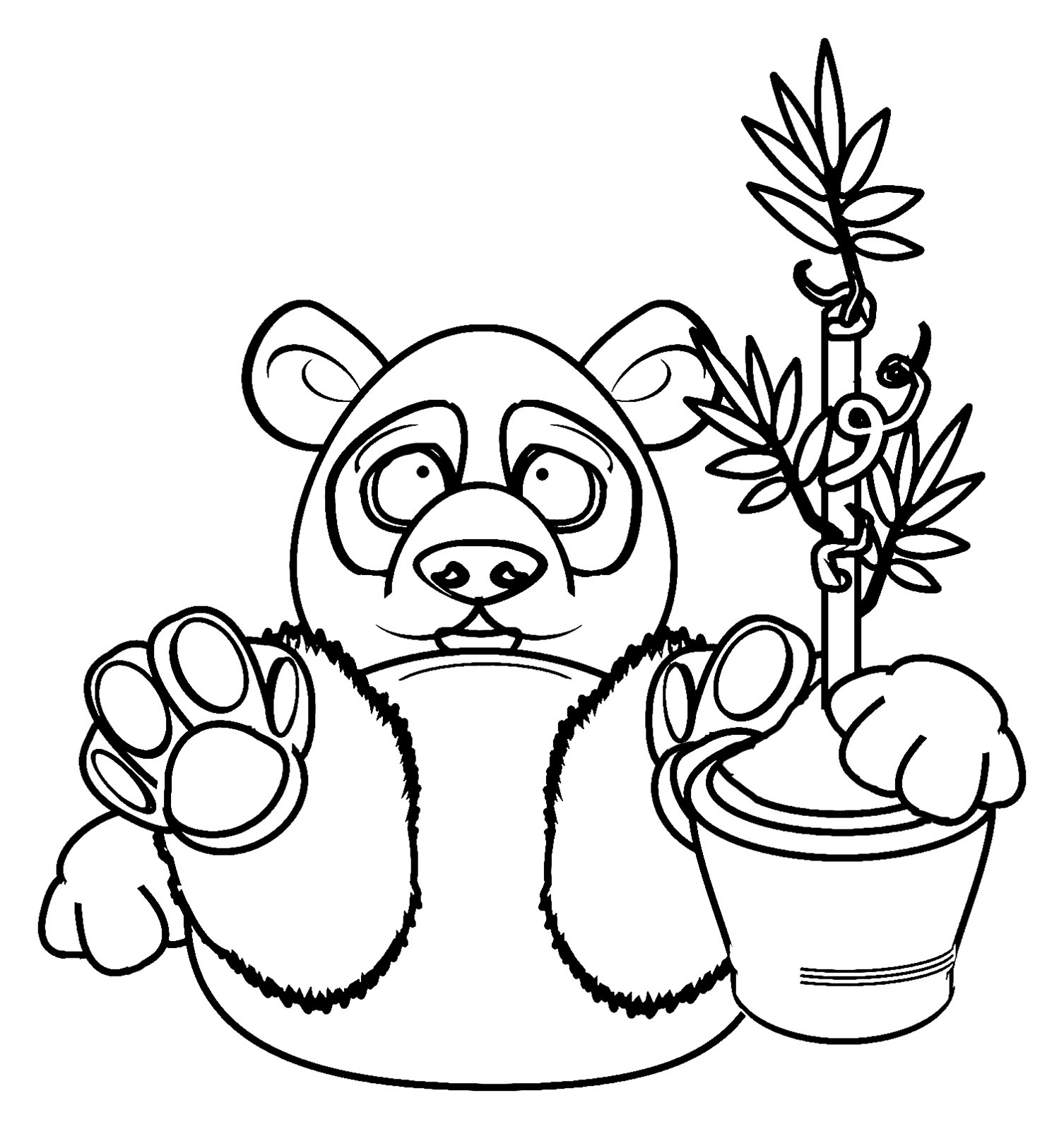 Easy free Pandas coloring page to download