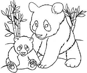 Coloring page pandas to print