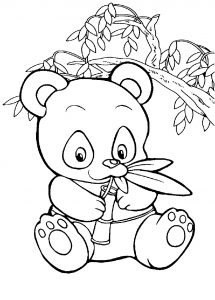 Coloring page pandas to color for kids