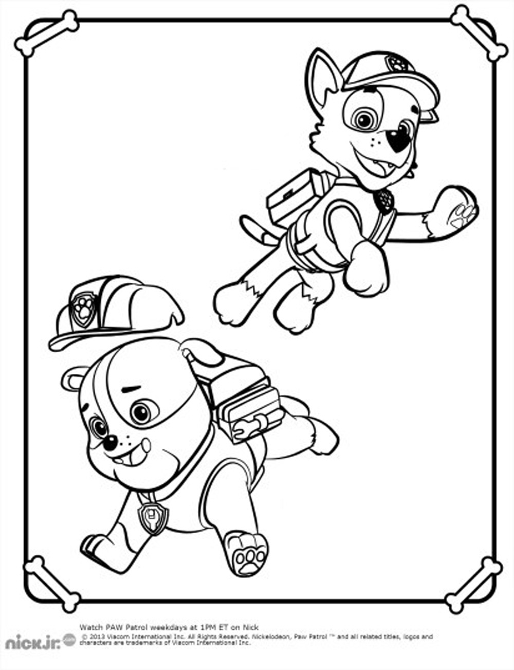 Paw Patrol coloring page with few details for kids