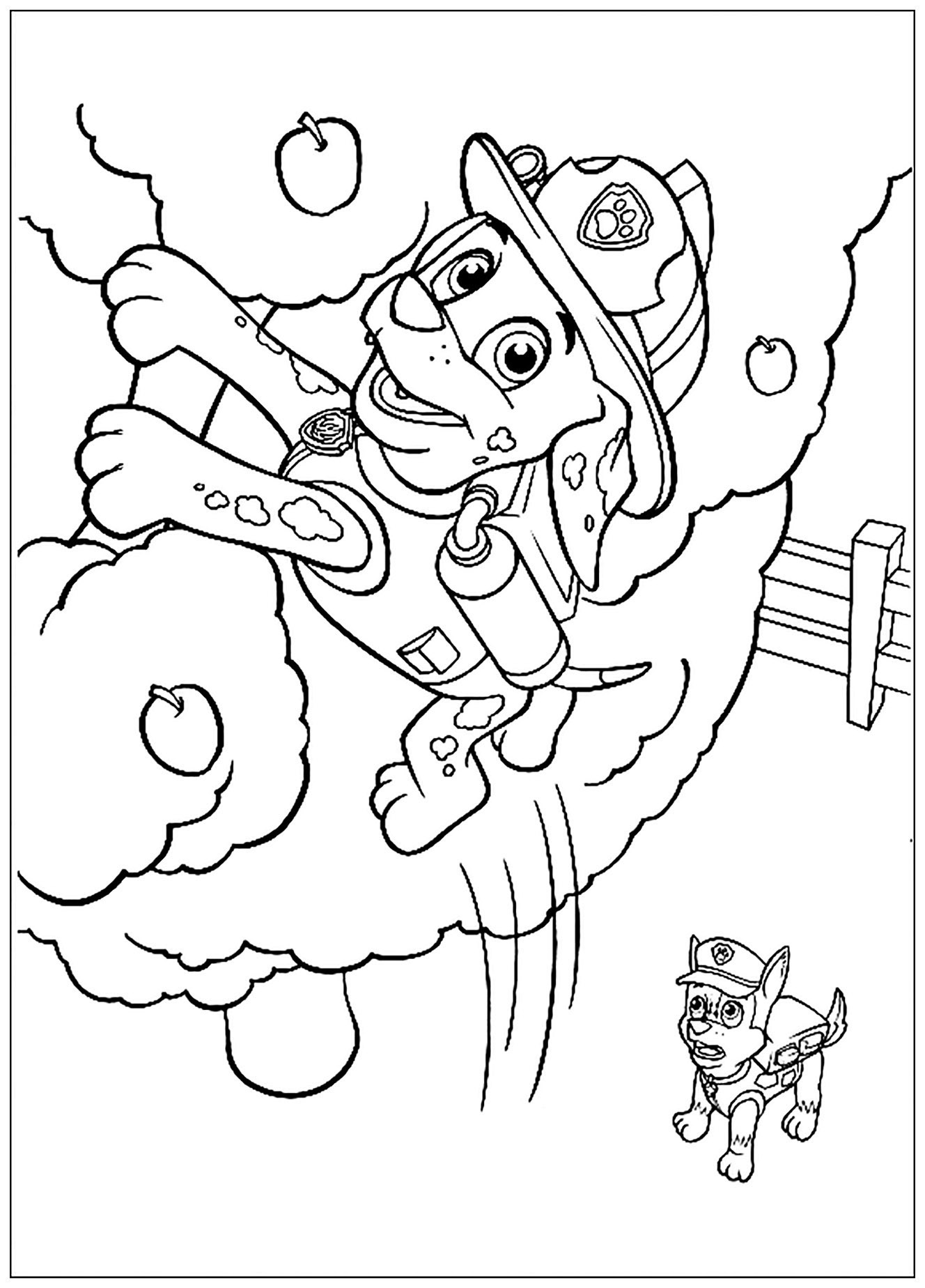 Simple Paw Patrol coloring page to download for free