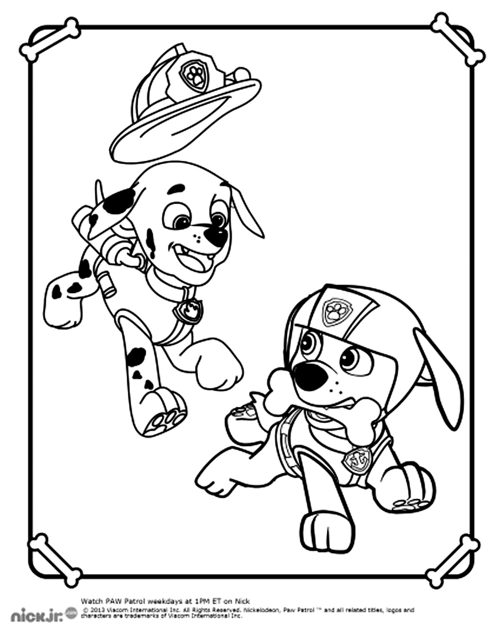 Free Paw Patrol coloring page to download, for children