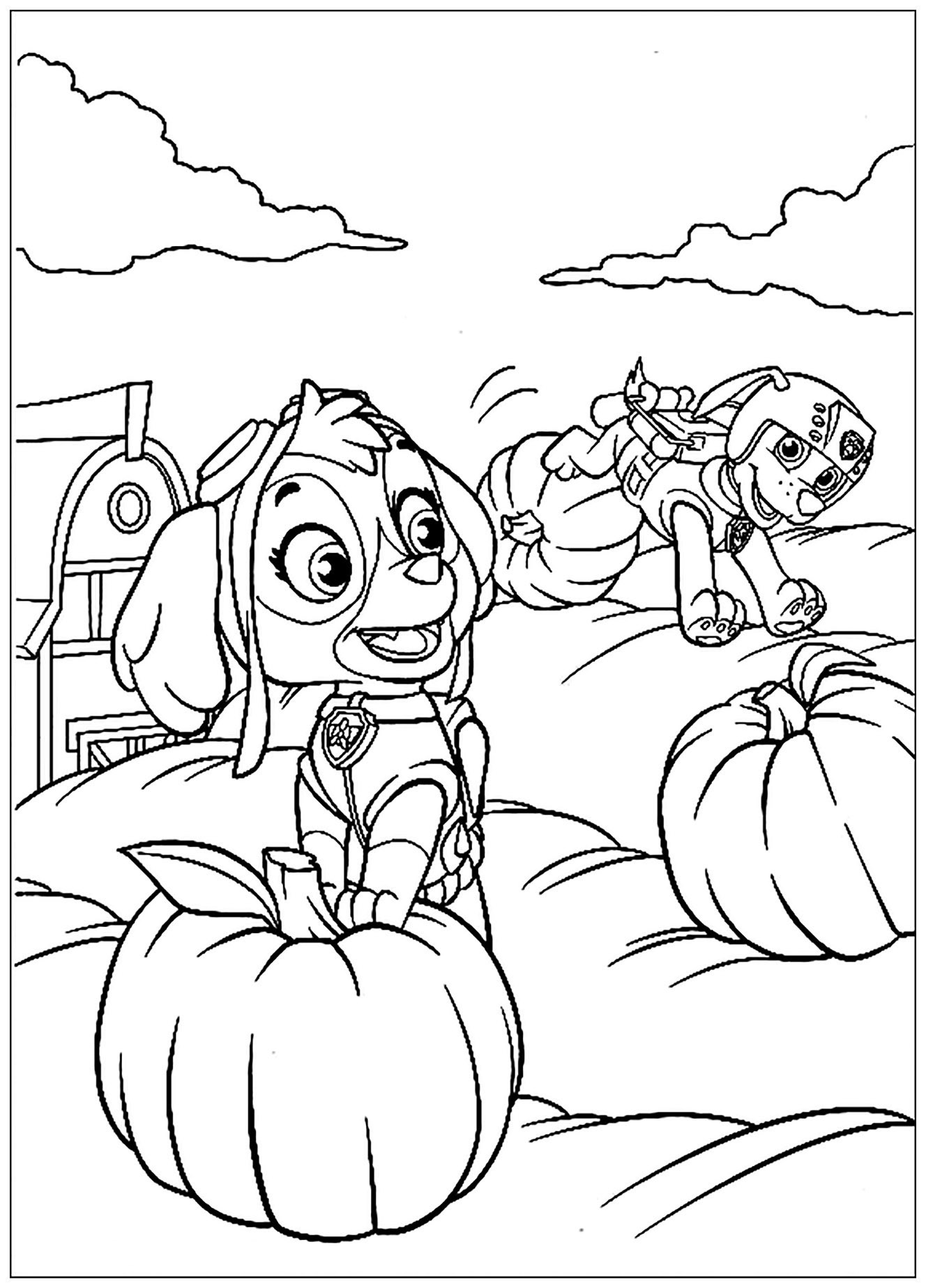 Simple Paw Patrol coloring page for children