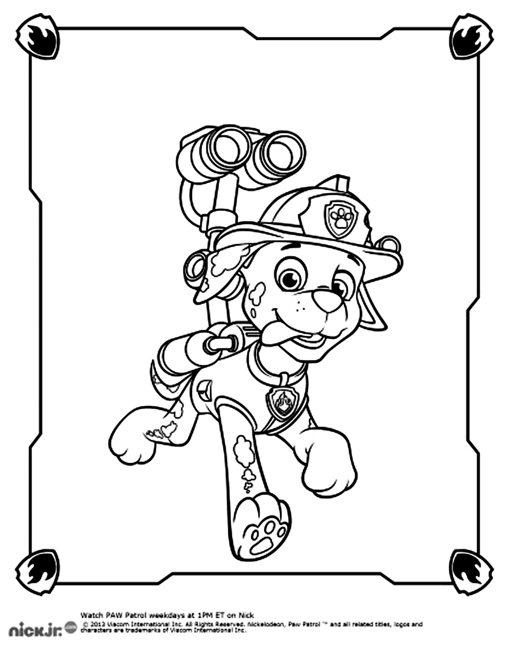 Incredible Paw Patrol coloring page to print and color for free