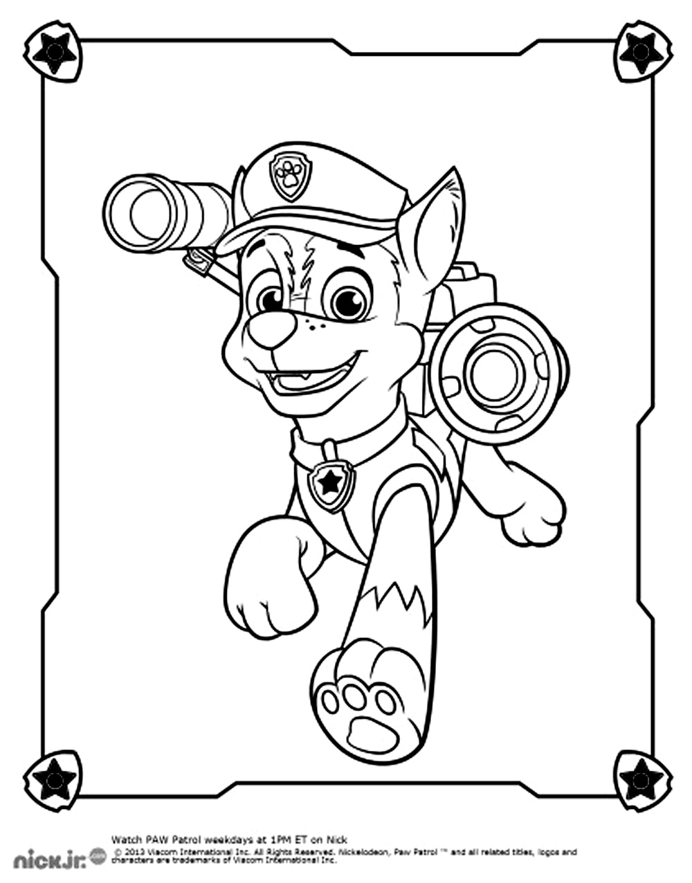 Simple Paw Patrol coloring page for kids
