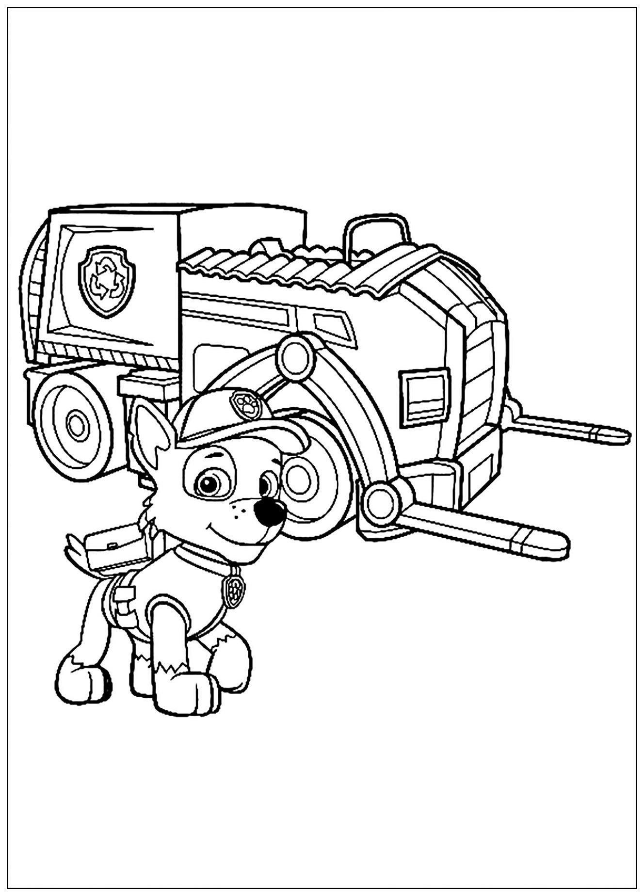 Paw Patrol coloring page to print and color for free