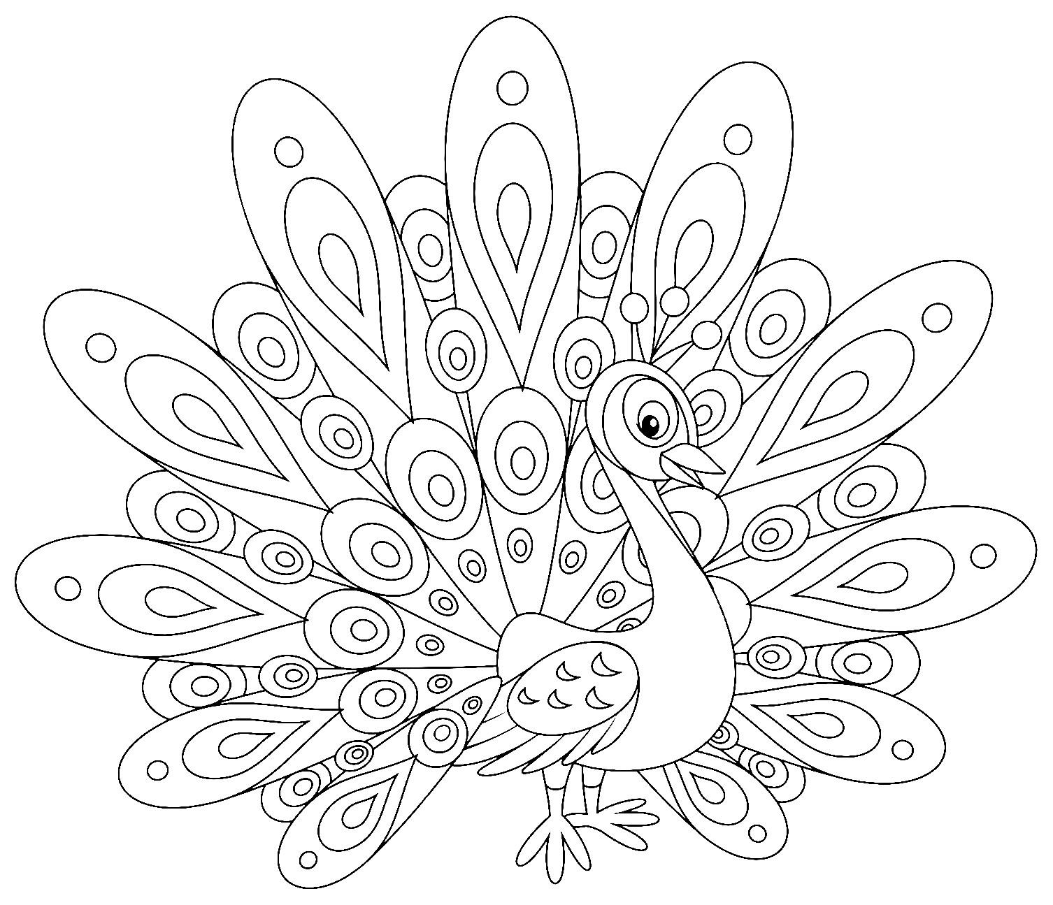 Simple Peacocks coloring page to download for free