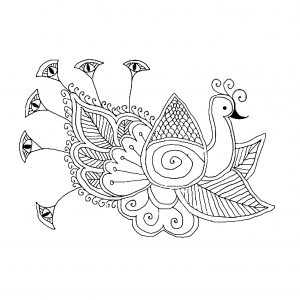 Coloring page peacocks for children