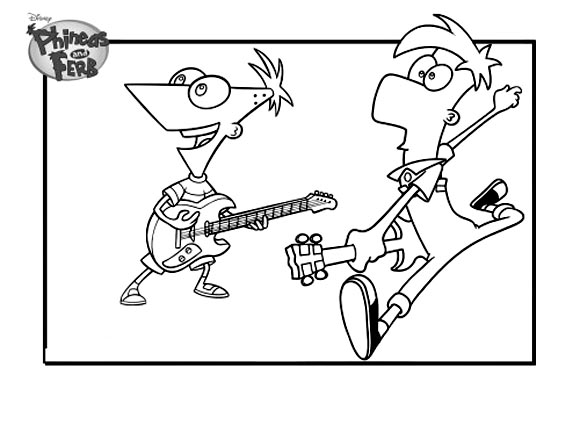 Phineas And Ferb coloring page to print and color for free