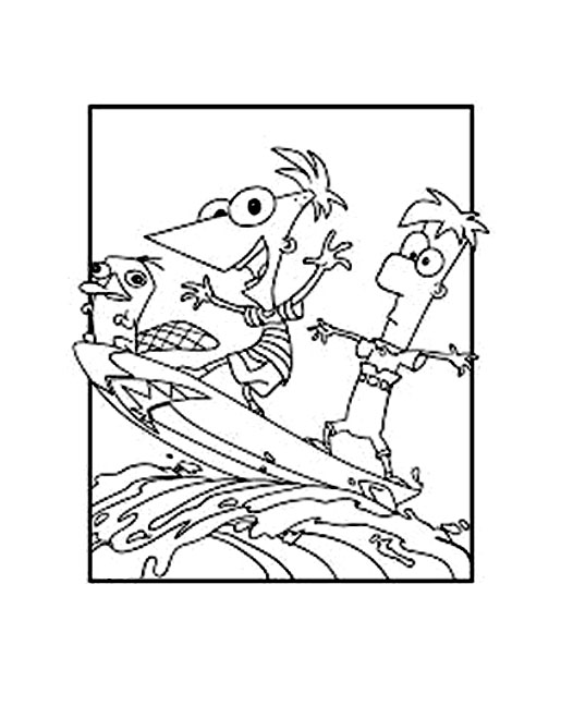 Cute free Phineas And Ferb coloring page to download
