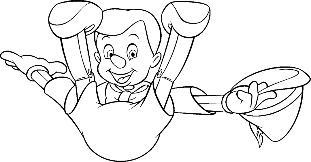 Funny free Pinoccio coloring page to print and color