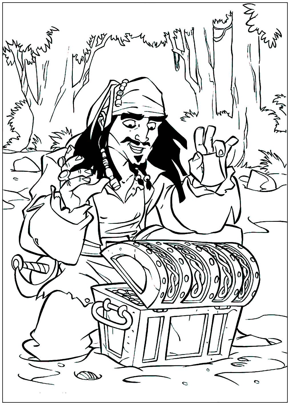 Funny Pirates of the Caribbean coloring page for kids