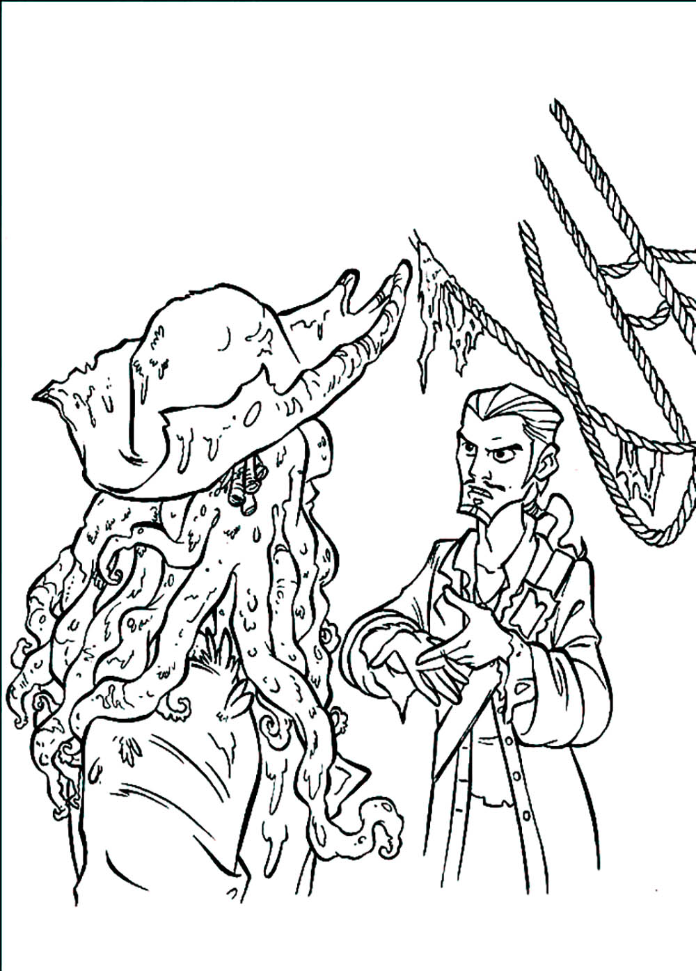 Beautiful Pirates of the Caribbean coloring page to print and color