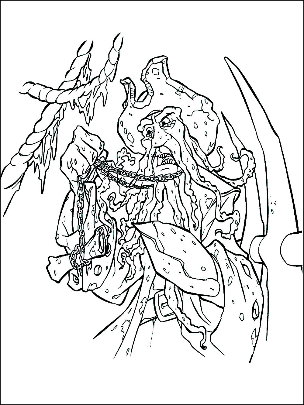 Easy free Pirates of the Caribbean coloring page to download
