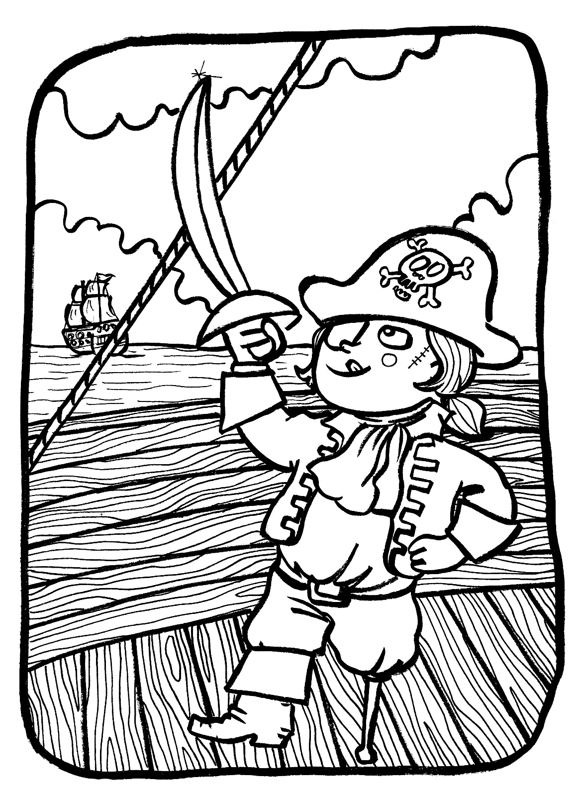 Printable Pirates coloring page to print and color for free