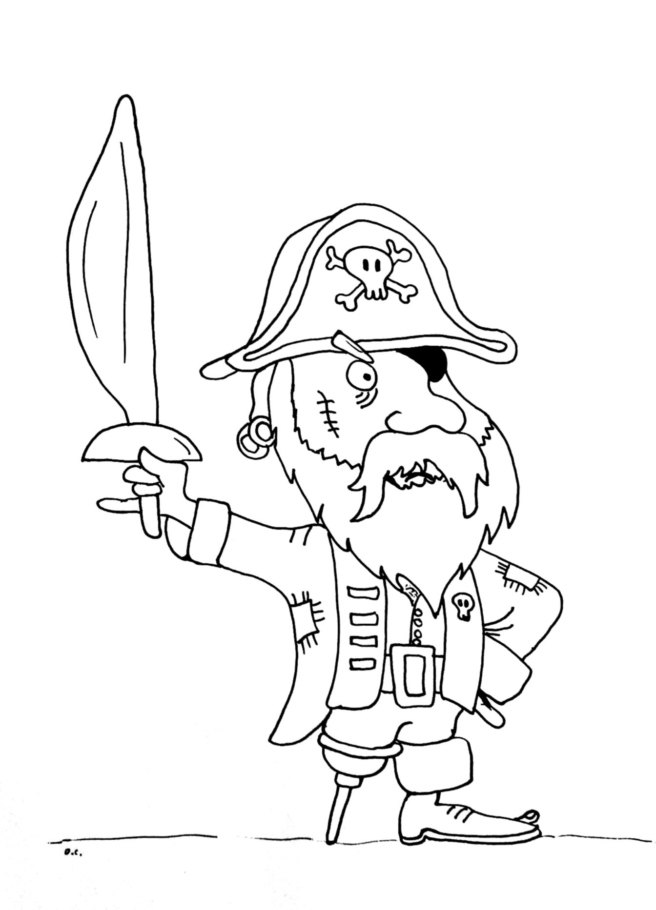 Pirates coloring page with few details for kids