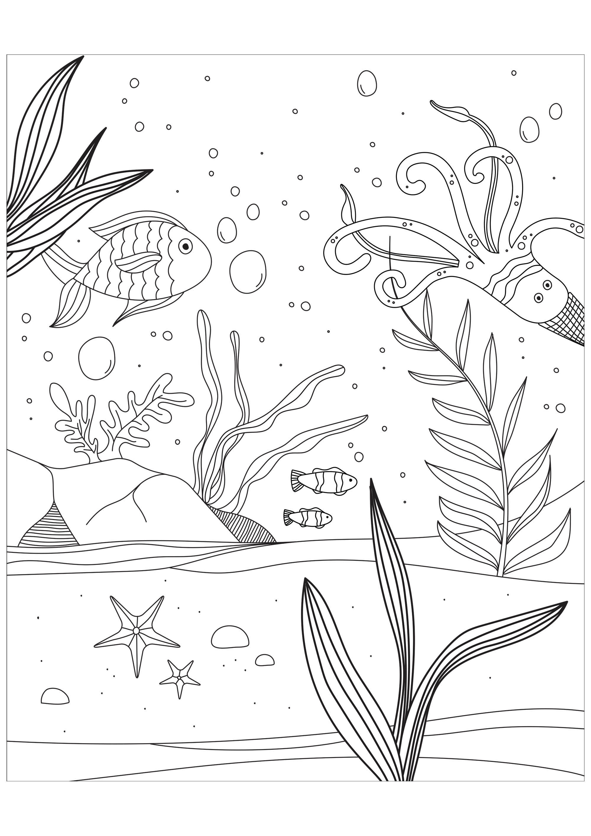 Printable Pisces coloring page to print and color for free