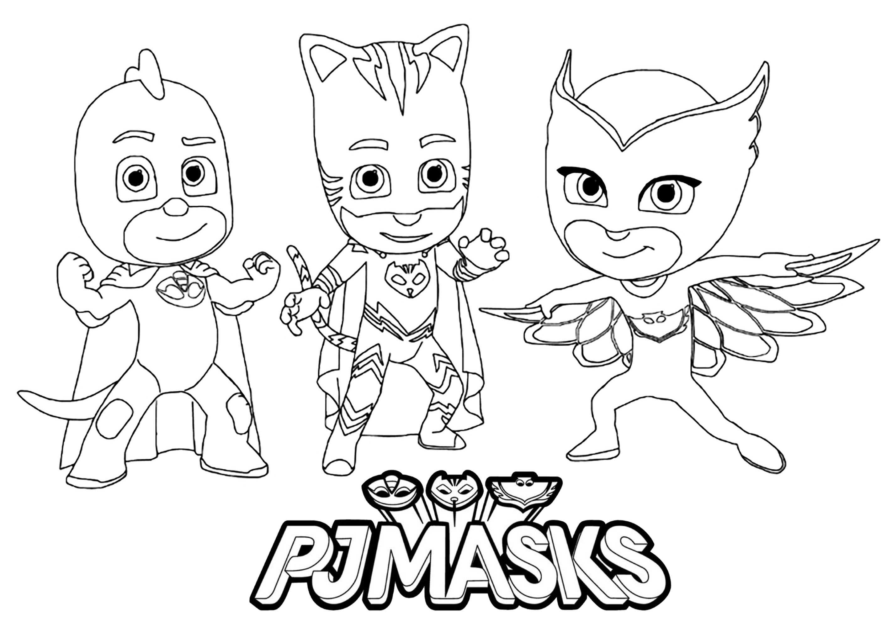Free PJ Masks coloring page to download, for children