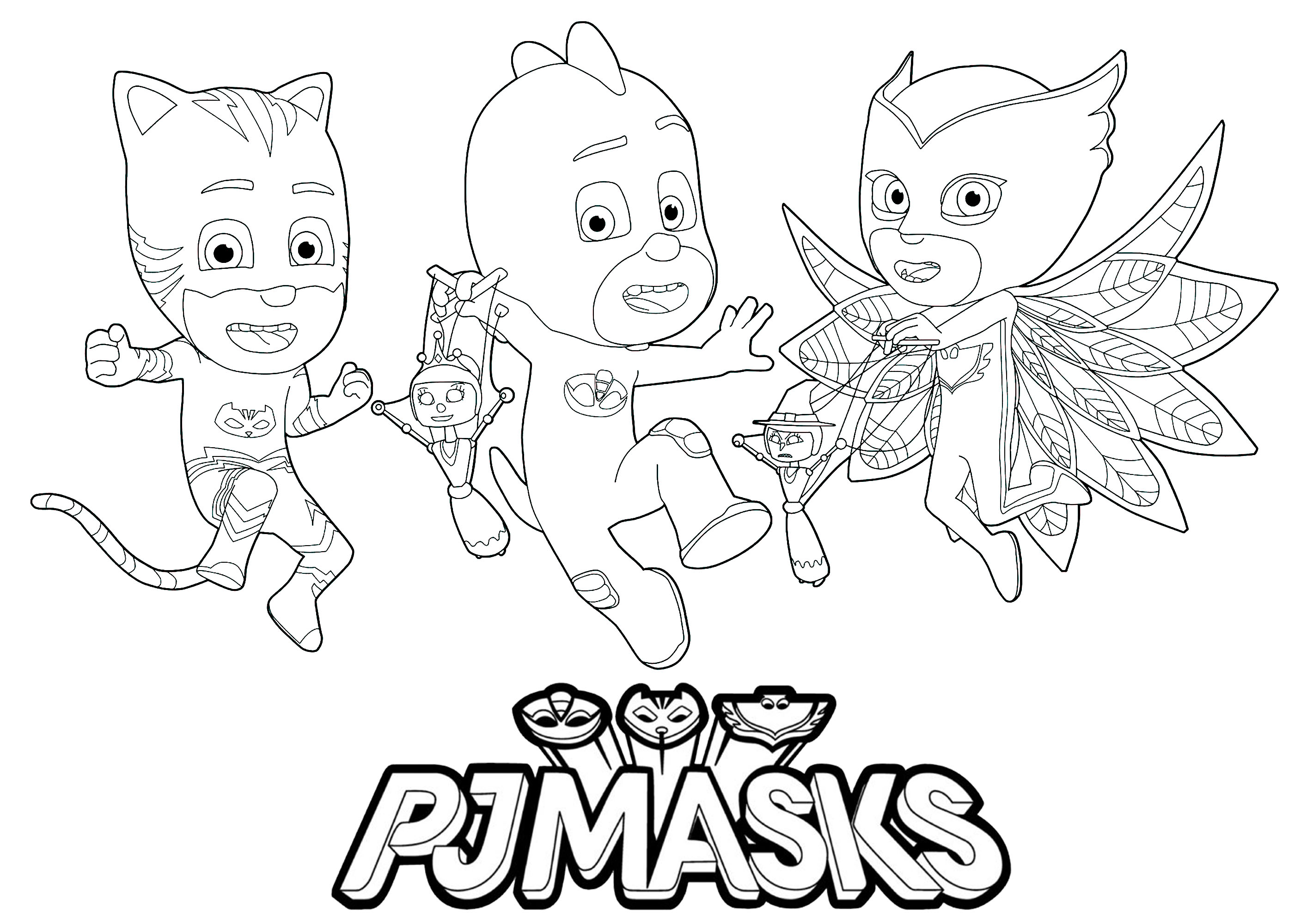 Free PJ Masks coloring page to print and color