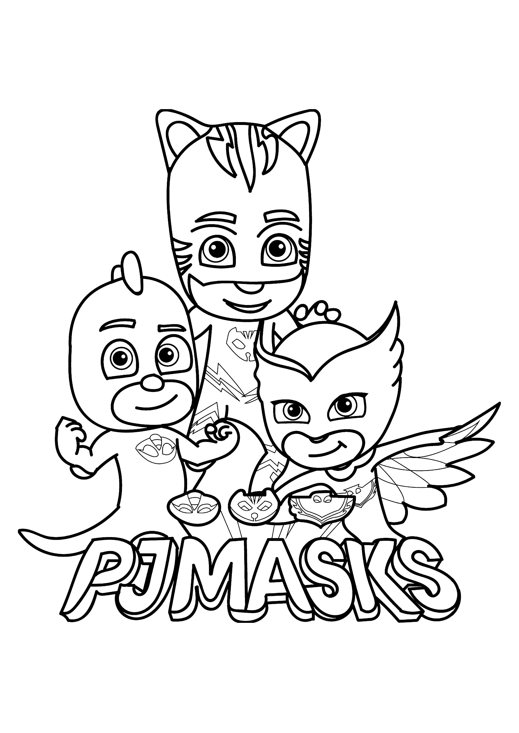 Funny PJ Masks coloring page for children