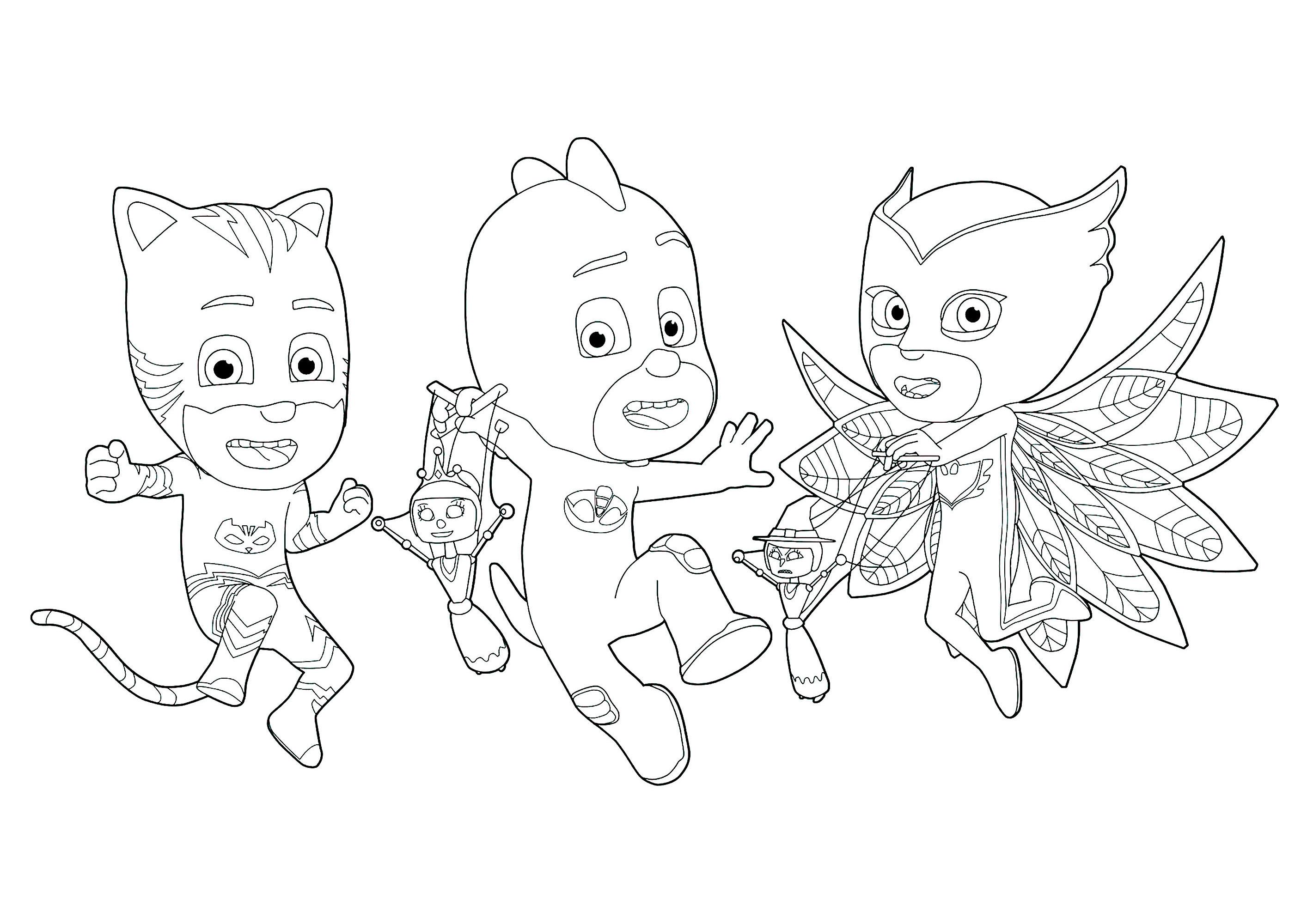 Funny PJ Masks coloring page